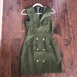 Military inspired dress with gold buttons